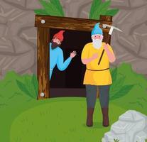 Fairytale dwarfs cartoons at forest vector design