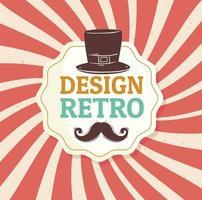 bigote en diseño retro con bigote en elegante marco y sombrero de copa vector