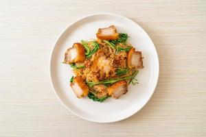 Stir-fried rice vermicelli and water mimosa with crispy pork belly photo