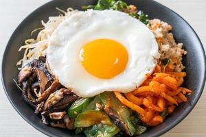 Korean spicy salad with rice - traditionally Korean food, Bibimbap photo