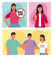 group of persons affected for bullying with stop signal characters vector