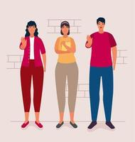 group of persons affected for bullying characters vector