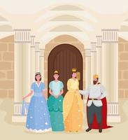 cuento de hadas rey reina y princesas dibujos animados en el diseño del vector del castillo