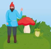Fairytale dwarf cartoon at forest vector design