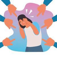 mujer estresada por intimidación con manos atacando alrededor vector