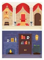 Fairytale king and magician landscapes vector design