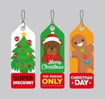 three happy merry christmas tags hanging vector