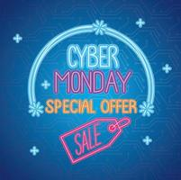 cyber monday neon lettering with sale in tag vector