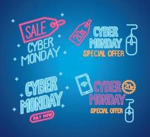 cyber monday neon letterings in blue background vector