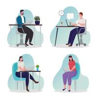 group of people using technology for meeting online vector