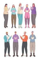 ten persons wearing winter clothes singing christmas carols vector