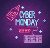 cyber monday neon lettering with keyboard and percent tag vector