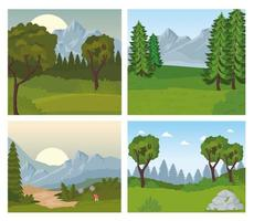four landscapes scenes with trees and flowers vector