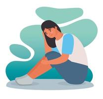 woman stressed for bullying seated character vector