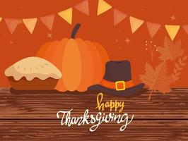 happy thanksgiving celebration lettering card with pilgrim hat and pie vector