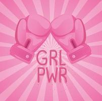 girl power lettering with boxing gloves vector