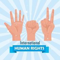 cartel de letras internacionales de derechos humanos con señales de manos meke vector