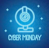 cyber monday neon lettering with webcam vector