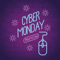 cyber monday neon lettering with mouse vector