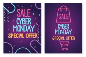 cyber monday neon letterings in purple templates vector