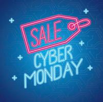 cyber monday neon lettering with tag vector