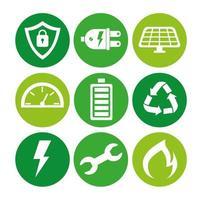 paquete de nueve iconos de conjunto de ecología energética vector