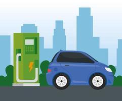Alternativa de ecología de coche eléctrico azul en la estación de carga vector