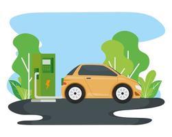 Alternativa de ecología de coche eléctrico en la estación de carga en la carretera vector