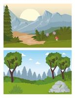 two landscapes scenes with forest trees vector