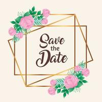 wedding invitation with save the date lettering and pink flowers in golden square frame vector