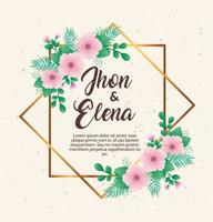 wedding invitation with jhon and elena lettering and pink flowers frame vector