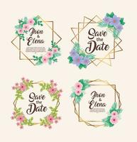 wedding invitations with floral colors and golden frames vector