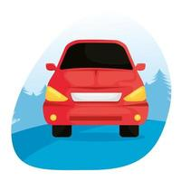 red car vehicle traveling isolated icon vector