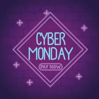 cyber monday neon lettering in diamond frame vector
