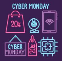 cyber monday neon lettering with bundle set icons vector