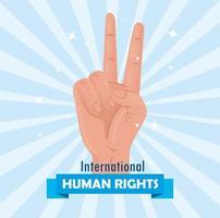 cartel de letras internacionales de derechos humanos con señal de paz y amor de mano vector