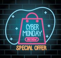 cyber monday neon lettering with shopping bag vector