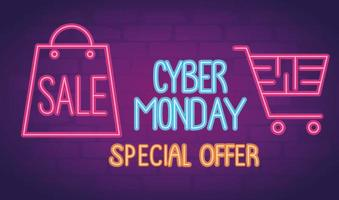 cyber monday neon lettering with shopping bag and cart vector
