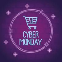 cyber monday neon lettering with shopping cart in circular frame vector