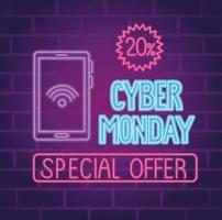 cyber monday neon lettering with smartphone and seal vector