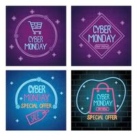 cyber monday neon letterings in colors templates vector