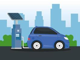 Alternativa de ecología de coche eléctrico en la estación de carga de la ciudad vector