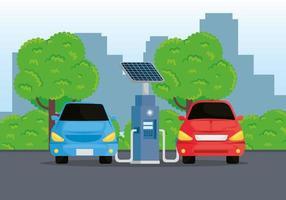 Alternativa de ecología de coches eléctricos en la estación de carga. vector