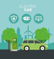 Alternativa de ecología de coche eléctrico en estación de carga y árboles. vector