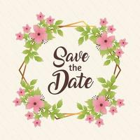 wedding invitation with save the date lettering and flowers pink in circular frame vector