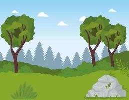 field camp landscape scene with trees vector