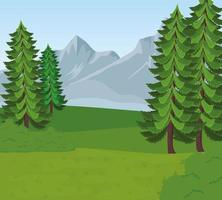 field camp landscape scene with pines trees vector