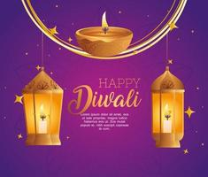 Happy diwali diya candle and lanterns vector design