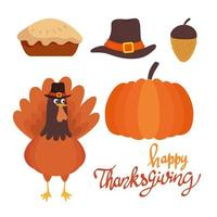 happy thanksgiving celebration lettering card with turkey and icons vector