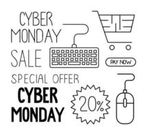 cyber monday set icons in white background vector